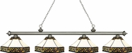 Z-Lite 200-4AS-Z16-30 Riviera Antique Silver Multi-Coloured Tiffany Kitchen Island Light