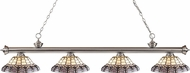 Z-Lite 200-4BN-H14-4 Riviera Brushed Nickel Multi Colored Tiffany Kitchen Island Light