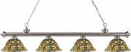 Z-Lite 200-4BN-R14A Riviera Brushed Nickel Multi Colored Tiffany Kitchen Island Light