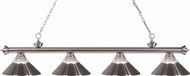 Z-Lite 200-4BN-RBN Riviera Brushed Nickel Clear Ribbed Glass and Metal Brushed Nickel  Island Light Fixture