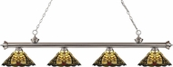 Z-Lite 200-4BN-Z14-46 Riviera Brushed Nickel Multi Colored Tiffany Kitchen Island Light Fixture