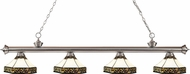 Z-Lite 200-4BN-Z16-30 Riviera Brushed Nickel Multi Colored Tiffany Kitchen Island Lighting
