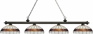 Z-Lite 200-4GB-F14-1 Riviera Golden Bronze Multi-Coloured Tiffany Island Lighting