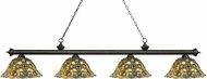 Z-Lite 200-4GB-R14A Riviera Golden Bronze Multi-Coloured Tiffany Kitchen Island Light