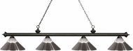 Z-Lite 200-4GB-RBN Riviera Golden Bronze Clear Ribbed Glass & Brushed Nickel Island Light Fixture