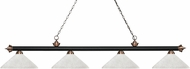 Z-Lite 200-4MB-AC-AWL14 Riviera Matte Black & Antique Copper Angle White Linen Island Light Fixture