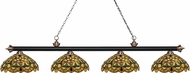 Z-Lite 200-4MB-AC-C14 Riviera Matte Black & Antique Copper Multi-Coloured Tiffany Kitchen Island Light Fixture