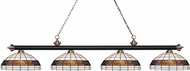 Z-Lite 200-4MB-AC-F14-1 Riviera Matte Black & Antique Copper Multi-Coloured Tiffany Kitchen Island Light Fixture