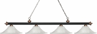 Z-Lite 200-4MB-AC-FWM16 Riviera Matte Black & Antique Copper Fluted White Mottle Kitchen Island Lighting