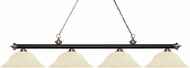 Z-Lite 200-4MB-AC-GM16 Riviera Matte Black & Antique Copper Golden Mottle Island Light Fixture