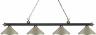 Z-Lite 200-4MB-AC-MAS Riviera Matte Black & Antique Copper Antique Silver Kitchen Island Light Fixture