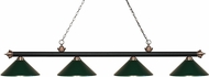 Z-Lite 200-4MB-AC-MDG Riviera Matte Black & Antique Copper Dark Green Island Lighting