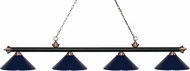 Z-Lite 200-4MB-AC-MNB Riviera Matte Black & Antique Copper Navy Blue Island Light Fixture