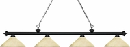 Z-Lite 200-4MB-AGM14 Riviera Matte Black Angle Golden Mottle Kitchen Island Lighting