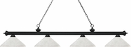 Z-Lite 200-4MB-AWL14 Riviera Matte Black Angle White Linen Kitchen Island Light