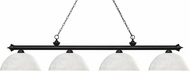Z-Lite 200-4MB-DWL14 Riviera Matte Black Dome White Linen Kitchen Island Light
