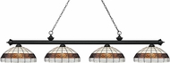 Z-Lite 200-4MB-F14-1 Riviera Matte Black Multi-Coloured Tiffany Island Light Fixture