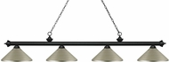 Z-Lite 200-4MB-MAS Riviera Matte Black Antique Silver Island Light Fixture