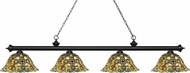 Z-Lite 200-4MB-R14A Riviera Matte Black Multi-Coloured Tiffany Island Lighting