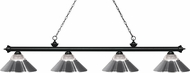 Z-Lite 200-4MB-RCH Riviera Matte Black Clear Ribbed Glass & Chrome Kitchen Island Light