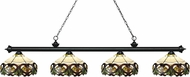 Z-Lite 200-4MB-Z14-33 Riviera Matte Black Multi-Coloured Tiffany Kitchen Island Light Fixture