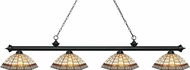 Z-Lite 200-4MB-Z14-35 Riviera Matte Black Multi-Coloured Tiffany Kitchen Island Lighting