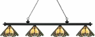Z-Lite 200-4MB-Z14-37 Riviera Matte Black Multi-Coloured Tiffany Kitchen Island Light