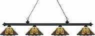 Z-Lite 200-4MB-Z14-46 Riviera Matte Black Multi-Coloured Tiffany Island Light Fixture
