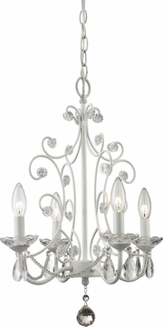 Z-Lite 419WH Princess Chandeliers Traditional Gloss White 15.375 Wide Mini Chandelier Lighting