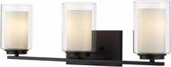 Z-Lite 426-3V-MB Willow Contemporary Matte Black 3-Light Vanity Lighting Fixture