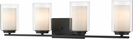 Z-Lite 426-4V-MB Willow Modern Matte Black 4-Light Bathroom Light