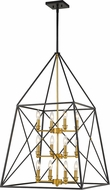 Z-Lite 447-12MB-OBR Trestle Matte Black and Olde Brass Foyer Lighting