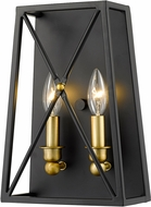 Z-Lite 447-2S-MB-OBR Trestle Matte Black and Olde Brass Light Sconce