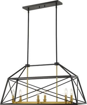 Z-Lite 447-36MB-OBR Trestle Matte Black and Olde Brass Island Lighting