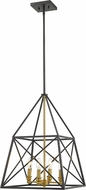 Z-Lite 447-4MB-OBR Trestle Matte Black and Olde Brass Foyer Light Fixture
