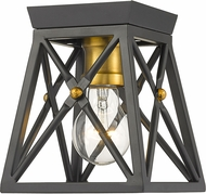 Z-Lite 447F1-MB-OBR Trestle Matte Black and Olde Brass Overhead Light Fixture