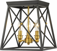 Z-Lite 447F11-MB-OBR Trestle Matte Black and Olde Brass Overhead Lighting