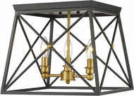 Z-Lite 447F14-MB-OBR Trestle Matte Black and Olde Brass Flush Mount Lighting Fixture