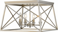 Z-Lite 447F18-AS Trestle Antique Silver Flush Ceiling Light Fixture
