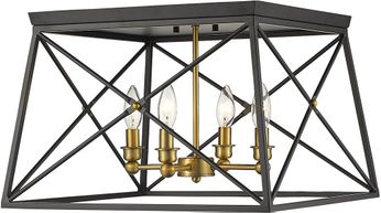 Z-Lite 447F18-MB-OBR Trestle Matte Black and Olde Brass Flush Mount Ceiling Light Fixture