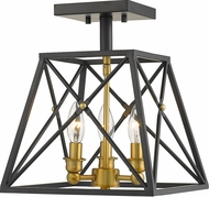 Z-Lite 447SF-MB-OBR Trestle Matte Black and Olde Brass Overhead Lighting Fixture