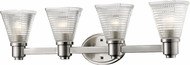 Z-Lite 449-4V-BN Intrepid Contemporary Brushed Nickel 4-Light Bathroom Vanity Lighting