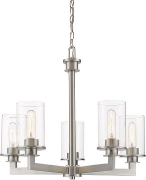 Z-Lite 462-5BN Savannah Contemporary Brushed Nickel Hanging Chandelier