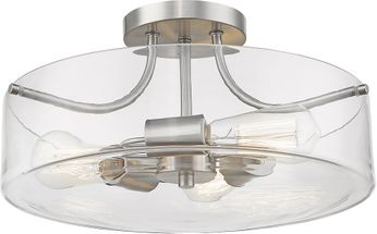 Z-Lite 471SF-BN Delaney Contemporary Brushed Nickel Flush Mount Ceiling Light Fixture