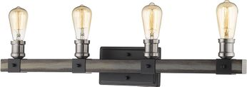 Z-Lite 472-4V-ABB Kirkland Contemporary Ashen Barnboard 4-Light Bathroom Lighting Sconce