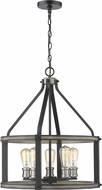 Z-Lite 472-5D-ABB Kirkland Contemporary Ashen Barnboard Hanging Pendant Light