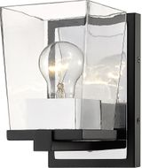 Z-Lite 475-1S-MB-CH Bleeker Street Matte Black and Chrome Wall Light Sconce