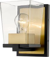 Z-Lite 475-1S-MB-OBR Bleeker Street Matte Black and Olde Brass Wall Lighting Fixture