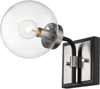 Z-Lite 477-1S-MB-BN Parsons Contemporary Matte Black / Brushed Nickel Lamp Sconce