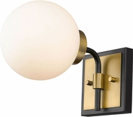 Z-Lite 477-1S-MB-OBR Parsons Contemporary Matte Black / Olde Brass Wall Sconce Lighting